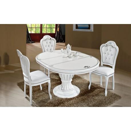 Prestige vit - silver, matbord & 4 stolar