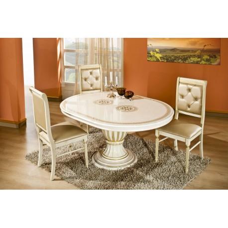Rossella beige - guld, matbord & 4 stolar