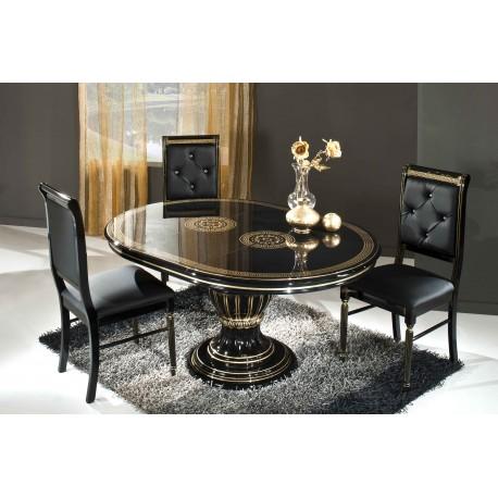 Rossella svart - guld, matbord & 4 stolar
