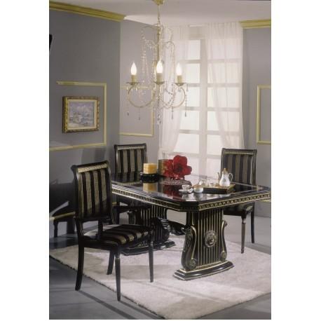 Rossella svart - guld, matbord & 6 stolar